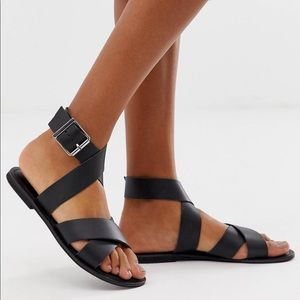 Asos Flossy Leather Cross Strap Flat Sandals